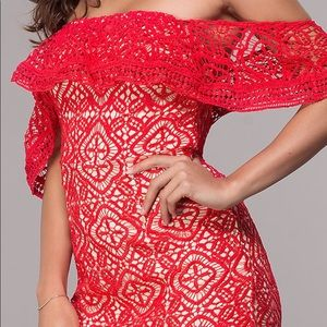 🆕NWT Trendy & Sexy Red Lace Off Shoulder Dress
